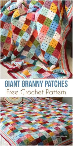 Giant Granny Patches [ree Crochet Pattern] #crochet #patchwork #grannysquare #crochetpattern #freepattern