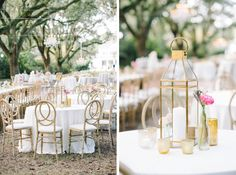 Farm tables, gold lanterns, custom linens, Spring flowers and chandeliers hanging from Live Oak trees at a wedding reception in the Avenue of Oaks at The Legare Waring House in Charleston, SC - Aaron and Jillian Photography