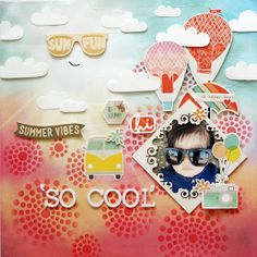 Seungeun Lee's craft room: scrapbooking'SO COOL'(The Studio Challenges) Happy Summer, Happy Day, Studio Calico, Summer Vibes, Challenges, Cool Stuff, Learning, Room, Cards