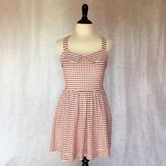 Free People S Red Stripe Sailor Pleated Mini Dress This vintage inspired Free People dress is darling! Great textured material with all over subtle maroon & beige plaid and stripe pattern mix. Sailor style neckline, fitted bodice, convertible/adjustable wooden button straps, hidden side pockets, and full pleated bottom. Mini length and marked a size Small. Measurements upon request. Perfect for 4th of July!  #trendy #picnic #summer #retro #rockabilly #pinup #preppy #sailor #nautical…