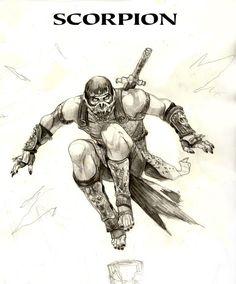 Scorpion - Mortal Kombat by Alexandr Pascenko Mortal Kombat Tattoo, Mortal Kombat Art, Mortal Kombat Cosplay, Scorpion Mortal Kombat, Comic Books Art, Comic Art, Street Fighter Tekken, Mundo Dos Games, Mortal Combat