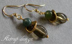 Beautiful gold earrings+and green jade from Lisa Astrup Art & craft by DaWanda.com