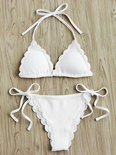 SheIn offers Scalloped Trim Side Tie Halter Bikini Set & more to fit your fashionable needs. Halter Bikini, Bikini Swimwear, Bikini Set, Bikini Bottoms, Bikini Tops, Romwe Swimwear, Bandeau Tops, Halterneck Bikini, Halter Tops