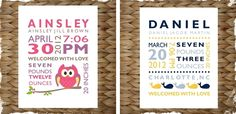 Cute DIY baby gift idea--- Personalized New Baby Birth Announcement