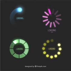 Colorful loading icons, appear as if they are glowing. This would only work on a black background as it contrasts well with the loading icons.