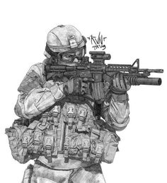 Drawings of Military Soldiers Iraq Military Drawings, Military Tattoos, Anime Military, Military Art, Soldier Drawing, Warrior Drawing, Future Soldier, Modern Warfare, Special Forces