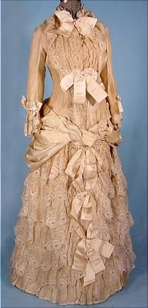 c. 1883 STERN BROS. Wedding Gown of Cream Grenadine and Lace with Satin Ribbons