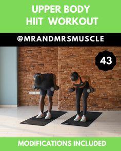 Upper Body Strength Workout, Upper Body Hiit Workouts, Hiit Workouts Fat Burning, Full Body Dumbbell Workout, Hiit Workouts For Beginners, Hitt Workout, Hiit Workout At Home, Gym Workout Videos, Workout Body
