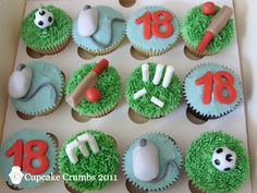 Cricket, football and IT themed birthday cakes.  Delicious bespoke cakes and cupcakes from Cupcake Crumbs www.cupcakecrumbs.co.uk facebook.com/cupcakecrumbs