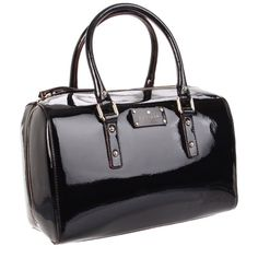 """Kate Spade """"Flicker Melinda"""" Black Patent Satchel Bold patent leather wraps a structured satchel accented by gleaming goldtone hardware and a shining pair of rolled handles. Top zip closure. Interior zip, wall and cell phone pockets. Protective metal feet. Logo-print lining. Patent leather. Used once, no flaws. Style #PXRU3089 kate spade Bags Satchels"""