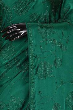 Buy Forest Green Stone Embroidered Satin Saree Online   Samyakk Satin Saree, Silk Sarees, Traditional Looks, Cutwork, Green Stone, Sarees Online, Party Wear, Wedding Styles, Swarovski