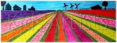 Draw a horzion line about 2 cm from the upper edge. Put a dot in the middle of this line, the vanishing point. Draw lines from the bottom and sides towards that vanishing point. Colour the bulb fields with bright colours. Colour walkways between the bulb fields. Colour the sky. Draw with a black fineliner some buildings on the horizon, like farms, windmills etc.