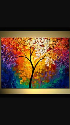 Textured Tree Painting , Gold Abstract Tree Painting, Blooming Tree Painting, Heavy Textured Wall Art by Osnat - Abstract Landscape Painting, Landscape Paintings, Tree Paintings, Painting Art, Abstract Paintings, Modern Paintings, Acrylic Painting Trees, Tree Of Life Painting, Abstract Trees