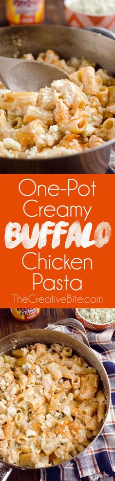 One-Pot Creamy Buffalo Chicken Pasta is a quick and easy 30 minute weeknight dinner with rich creamy pasta, spicy buffalo sauce and tender chicken. #Buffalo #Chicken #Pasta