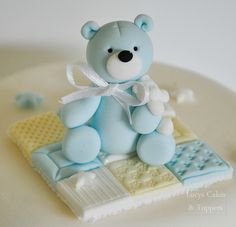 baby blue boys bear cake topper