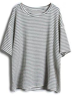 Sheinside® Damen Gestreiftes T-Shirt, grau (One-Size, grau) #stripedshirt #offduty #women #covetme #sheinside