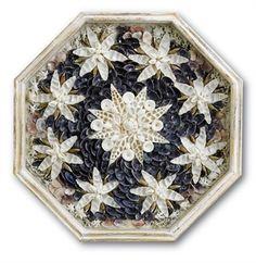 Maritime Folk Art Handmade Sailor Valentine Floral Shell Domed Antiques