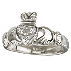 Claddagh Ring 18K White Gold  Diamond Sz 5-9 Irish Made  Price : $4,504.95 http://www.biddymurphy.com/Claddagh-Ring-White-Diamond-Irish/dp/B00JQKYACE