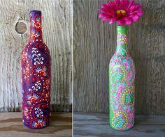Роспись бутылок контурами