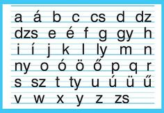 The Hungarian small letter alphabet. The good old days in primary school. Different Alphabets, Family Roots, Small Letters, My Roots, Letter Sounds, Budapest Hungary, Family History, Genealogy, Kids Learning