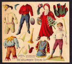 WILLIMANTIC THREAD Christmas Paper Doll Advertising Trade Card from the Late 1890's