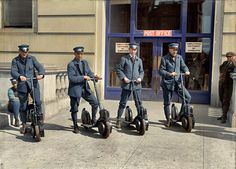 "Post officers show off their brand-new ""Autopeds"" scooters, Washington, D.C., 1917"