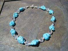 Turquoise & Crystal Necklace by TheRealCrystalCrow on Etsy, $40.00