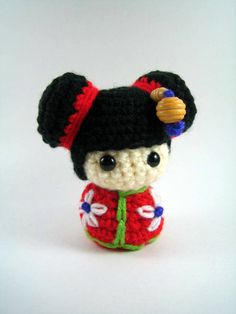 Chibi Kokeshi Doll Amigurumi Crochet Pattern PDF file by mutts