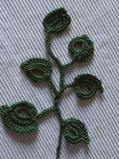 Motiv 4*Applikation blätter häkeln*crochet leaves* irish lace crochet DIY