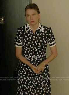 Liza's black polka dot shirtdress on Younger.  Outfit Details: https://wornontv.net/63508/ #Younger