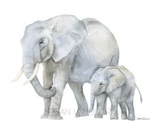 African Elephants - Mother and Baby watercolor giclée reproduction. Landscape/horizontal orientation. Printed on fine art paper using archival pigment inks. This quality printing allows over 100 years