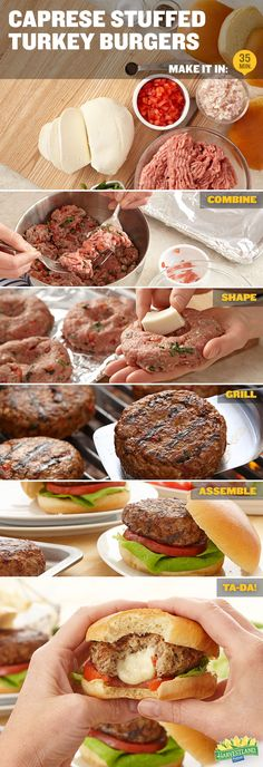 Caprese Stuffed Burgers - lunch or bbq! Low Carb Recipes, Cooking Recipes, Healthy Recipes, Stuffed Burgers, Worcestershire Sauce, Cooking Turkey, Tomato Basil, Ground Turkey, Quick Meals