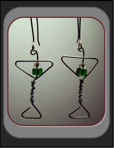 jewelryearringssilvermartinimartini by RosesWireArtJewelrY on Etsy, $20.00