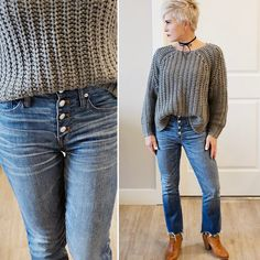 "1,407 Likes, 127 Comments - Shauna (@chicover50) on Instagram: ""High rising and buttoning up today with frayed edges and a chunky knit from @madewell and…"""