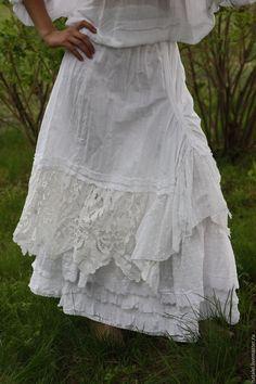 Купить Юбка белая с кружевом двойная , винтаж, БОХО. - белый, белая юбка