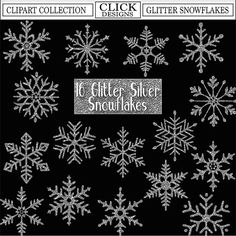 GLITTER SILVER SNOWFLAKES Digital ClipArt: Sparkle by ClickDesigns