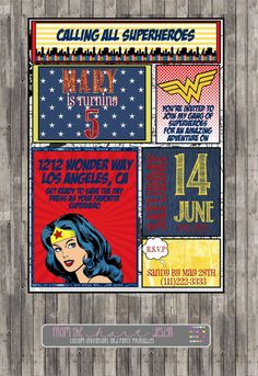 Superhero Wonder woman Birthday Party Invitation, Comic Superhero, Marvel Custom Printable Invite Superhero wonder woman birthdayprintable on Etsy, $15.00