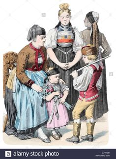 Late 19th Century Xix 1800s Germany Costumes Of Baden Baden Stock Photo, Royalty Free Image: 63302889 - Alamy
