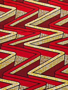 African Latest Fabric Super Deluxe Wax Yellow Red Wave For Party 100%Cotton sw00104