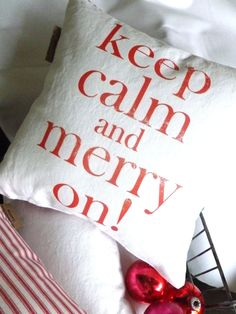 Holiday Pillow Merry Christmas Throw Pillow.  via Etsy.