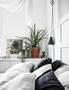 White bedroom with white and dark grey linen bedding with a plant, hanging light, and panelled wall