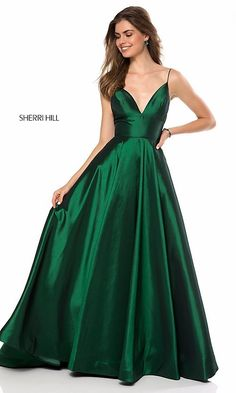 49c371467ae Sherri Hill V-Neck Prom Dress with Pockets - PromGirl Vestidos Black Tie