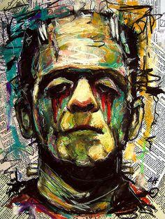 "Print 8x10"" - Sad Frankenstein - Portrait Dracula Classic Monster Horror Gothic Halloween Pop Lowbrow Coffee Vintage Dark Art"