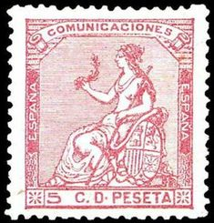 I REPÚBLICA - AÑO 1873. Corona mural y Alegoría de España.