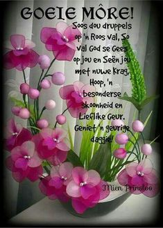 Good Morning Prayer, Morning Prayers, Good Morning Good Night, Good Morning Wishes, Lekker Dag, Evening Greetings, Afrikaanse Quotes, Goeie More, Night Messages