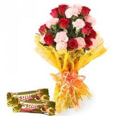 5 Star Chocolates with Bouquet of Flowers