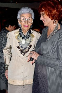 Iris Apfel, left, at an event for her husband Carl's birthday in 2014. Credit: Bill Cunningham/The New York Times