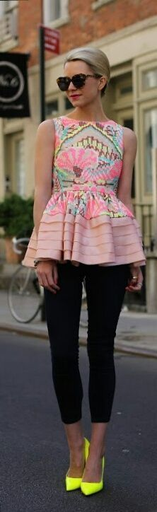 LOVE this shirt!!!! and love these neon heels.