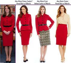 With thanks to Janet for such a brilliant tip, here is a fab repliKate for the Luisa Spagnoli suit. This is the Alex Marie Emma Jacket and Pencil Skirt, offered exclusively at Dillard's, I believe it is their house brand. The suit consists of the Alex Marie 'Kate' Belted Jacket ($139) and Alex Marie 'Emma' Pencil Skirt ($79).  Both pieces are a rayon/nylon/spandex blend and both are lined.