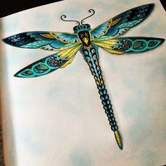 In love * enchanted forest * floresta encantada * ♥≻★≺♥Another colour mix! Enchanted Forest Book, Enchanted Forest Coloring Book, Colouring Pages, Adult Coloring Pages, Coloring Books, Dragonfly Art, Dragonfly Tattoo, Dragonfly Painting, Dragonfly Necklace